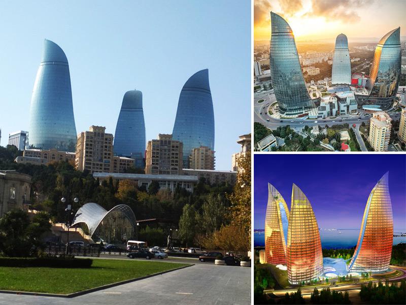Огненные башни FLAME TOWERS в Баку