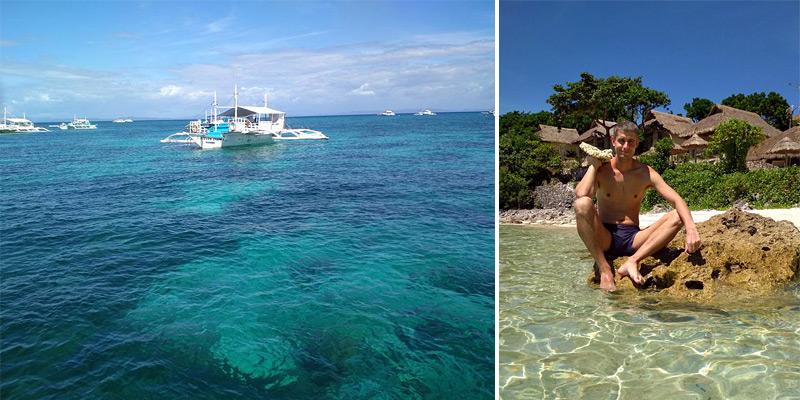 Филиппинский тримаран на пути к нашему отелю Tepanee Beach Resort 4*