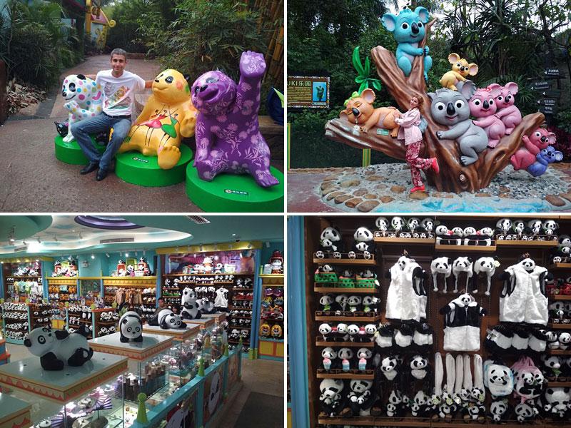Панды повсюду в сафари парке Chimelong в Гуанчжоу